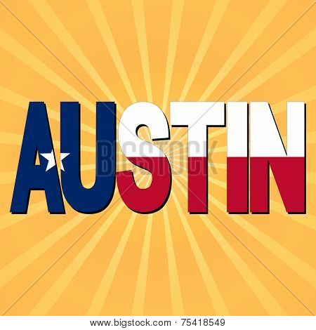 Austin flag text with sunburst illustration