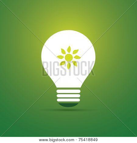 Green Eco Energy Concept Icon - Sun Inside the Light Bulb - Solar Energy