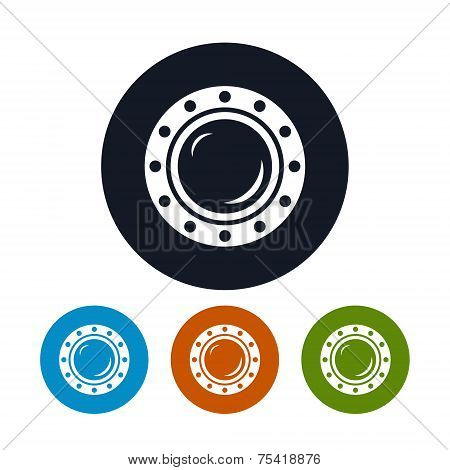 Icon porthole , vector illustration