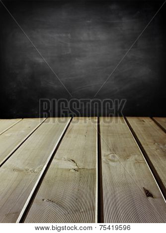 Wooden floorboards and blackboard wall