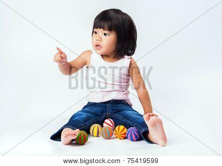 Asian Girl Play Colour Ball