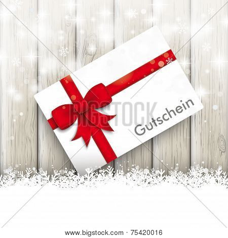 Snowfall Glitter Coupon Ash Wooden Background