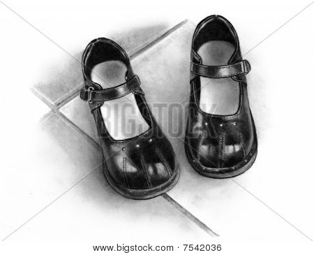 Pencil Drawing of Black Girls' Shoes