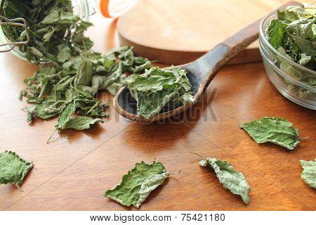 Dry mint prepared for tea