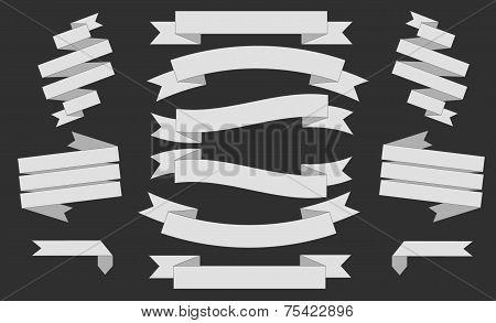 Big White Ribbons Set, Isolated On Black Background, Vector Illustration