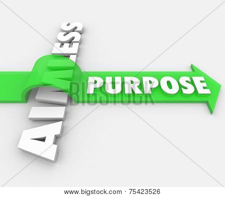 Purpose word on a green arrow over Aimless in 3d white letters to illustrate an assignment, job, task, work or objective giving your lfe meaning
