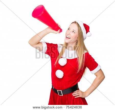 Christmas lady shout with megaphone