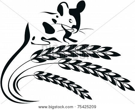 Vector Illustration Of A Mouse And Wheat Spikelets.eps