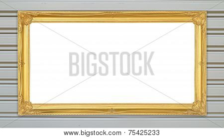 Golden Frame On Metal Wall Background