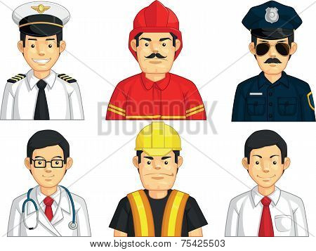 Profession - Construction Worker, Doctor, Fire Fighter, Pilot, Police, Office Worker