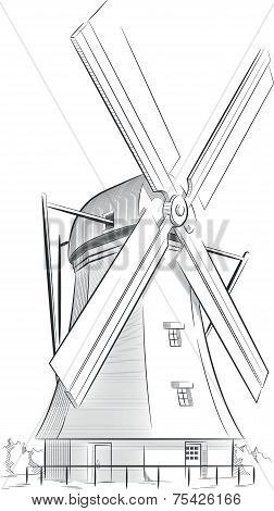 Sketch of Dutch Landmark - Windmill