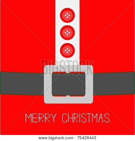 Santa Claus Coat With Fur, Buttons And Silver Belt. Merry Christmas Background Card Flat Design
