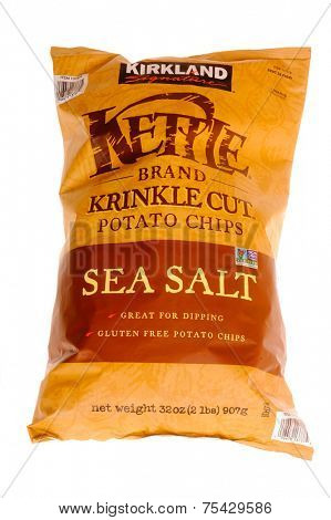 Hayward, Ca - October 28, 2014: 2 lb bag of Kirkland Signature Kettle Brand Krinkle cut Sea Salt, gluten free potato chips