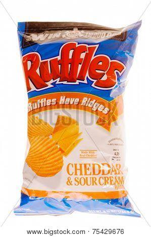 Hayward, Ca - October 28, 2014: 8.5 oz Ruffles Cheddar & Sour Cream Flavor Potato chips