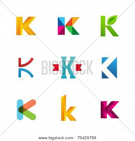 Set Of Letter K Logo Icons Design Template Elements. Collection Of Vector Signs.
