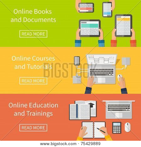 Online education,online training courses and tutorials, e-books. Digital devices, laptop. Flat desig