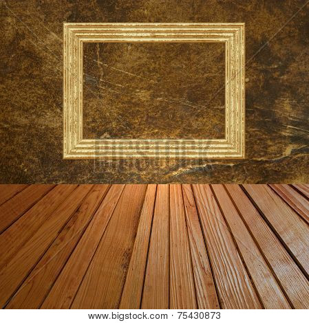 Grunge Abstract Background With Golden Picture Frame.