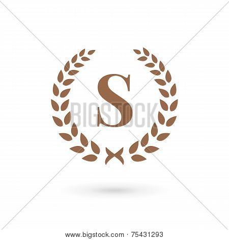 Letter S Laurel Wreath Logo Icon Design Template Elements