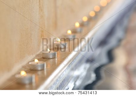 Candles In A Spa Interior Pool Side Relax Concept