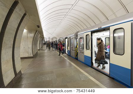 MOSCOW, RUSSIA 11.05.2014.  metro station Savelovskaya, Russia.  Metro carries over 7 million passen