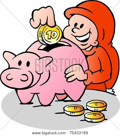 Hand-drawn Vector Illustration Of An Happy Christmas Elf Put Money Into The Piggy Bank