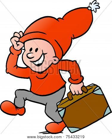 Hand-drawn Vector Illustration Of An Happy Christmas Elf Running With A Suitcase