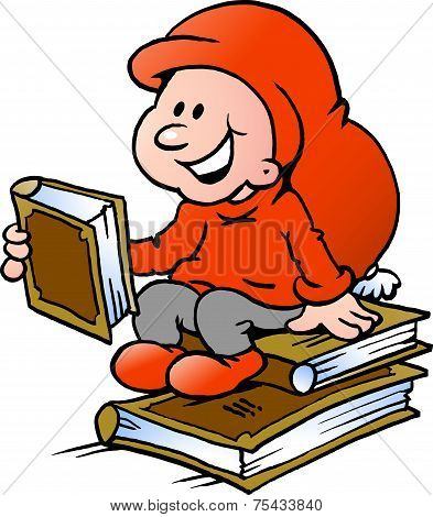 Hand-drawn Vector Illustration Of An Happy Christmas Elf Reading Books
