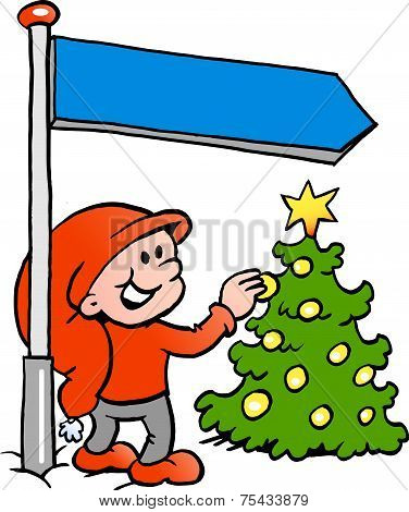 Hand-drawn Vector Illustration Of An Happy Christmas Elf Looking At A Christmas Tree