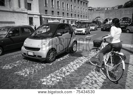 Cyclist In Rome