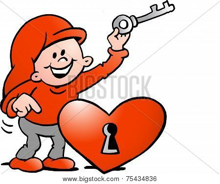Hand-drawn Vector Illustration Of An Happy Christmas Elf  With The Key To The Heart