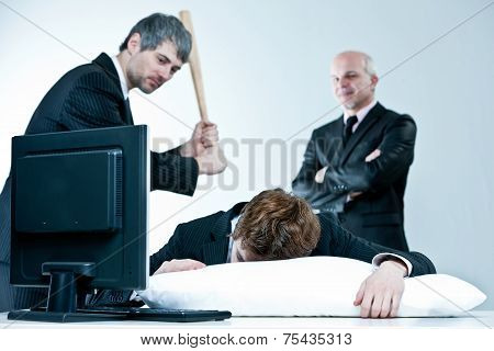 Manager And Boss Discover Lazy Employee