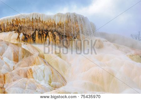 The rock with falls in Yellowstone national park, Mammoth Hot Springs.