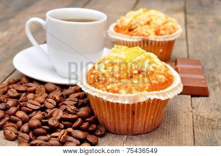 cup of coffee with muffin