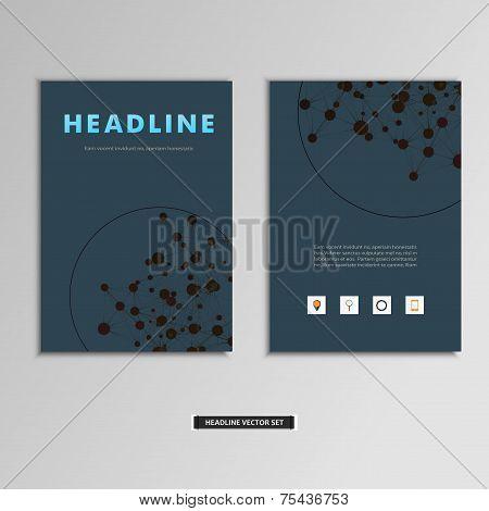 Set of vector artwork with molecular background