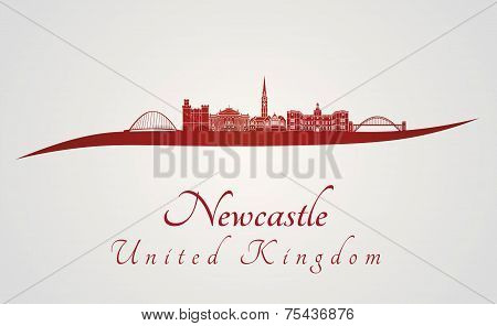 Newcastle Skyline In Red