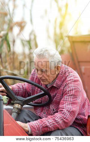 Senior Man Od Tractor