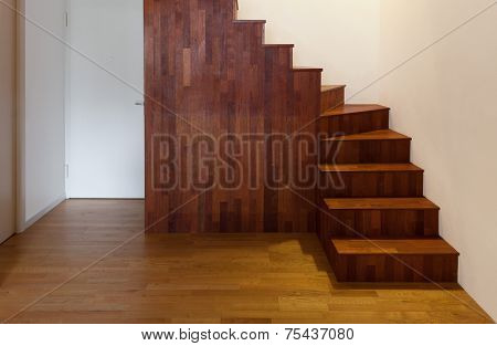 Interior, empty house, hardwood staircase