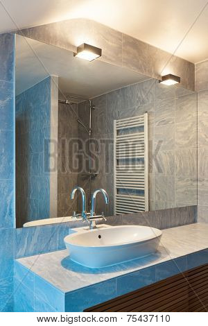 Interior modern loft, blue bathroom