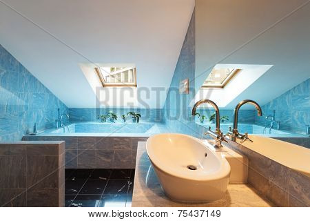 Interior modern loft, blue bathroom