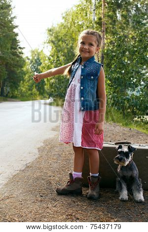 Lonely Girl With Suitcase Standing About Road With Her Little Dog