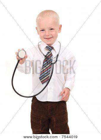 Boy Prentending To Be A Doctor