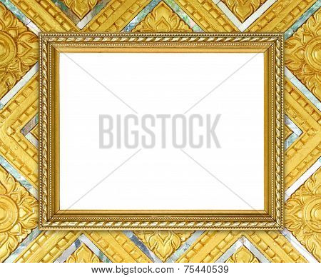 Golden Frame On Thai Style Buddha Wall Background