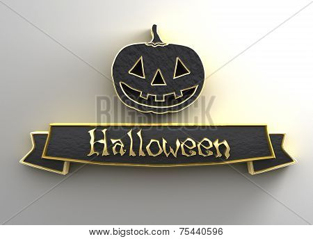 Halloween - Black And Gold 3D Quality Render On The Background With Soft Shadow.