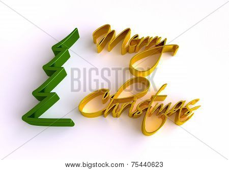 Christmas Greeting Card. 3D Merry Christmas Lettering.