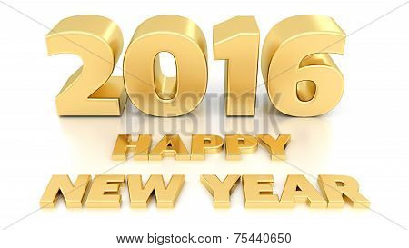 Happy New Year 2016. Isolated 3D Design Template On White Background.
