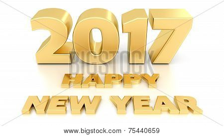 Happy New Year 2017. Isolated 3D Design Template On White Background.