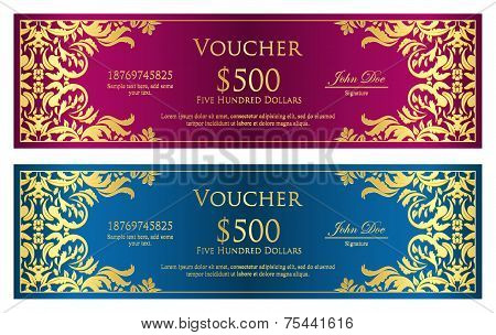 Luxury Magenta And Blue Voucher With Vintage Ornament
