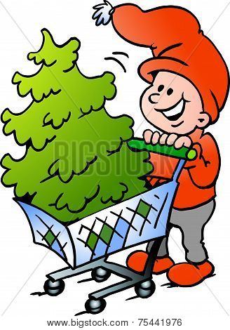 Hand-drawn Vector Illustration Of An Happy Christmas Elf  Shopping A Christmas Tree