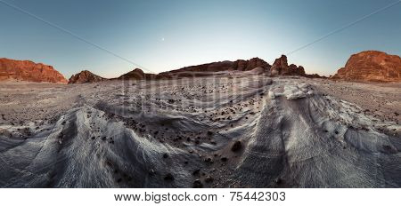 Desert with rocks at sunset. Sinai, Egypt