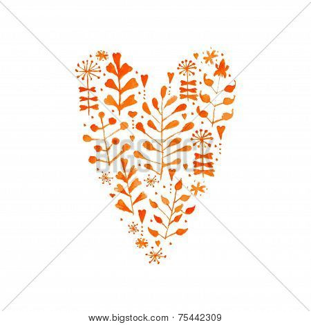 Vector Watercolor Floral Heart